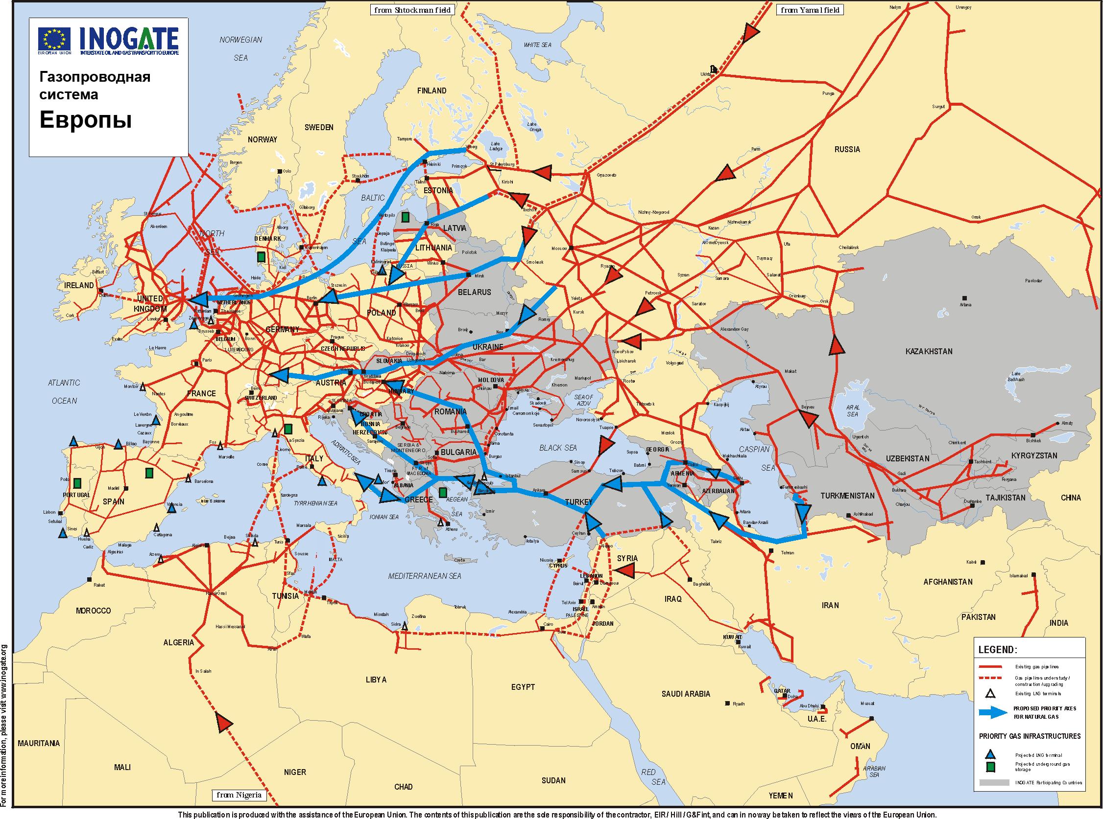 Mapa plynovodov